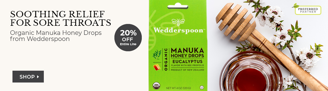 Organic Manuka Honey Drops from Wedderspoon. 20% off entire line.
