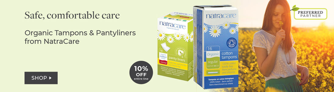 Natracare 10% off organic tampons and pantyliners