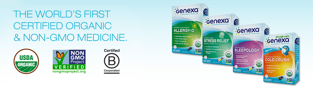 Genexa, the world's first NON-GMO and certified organic medicine