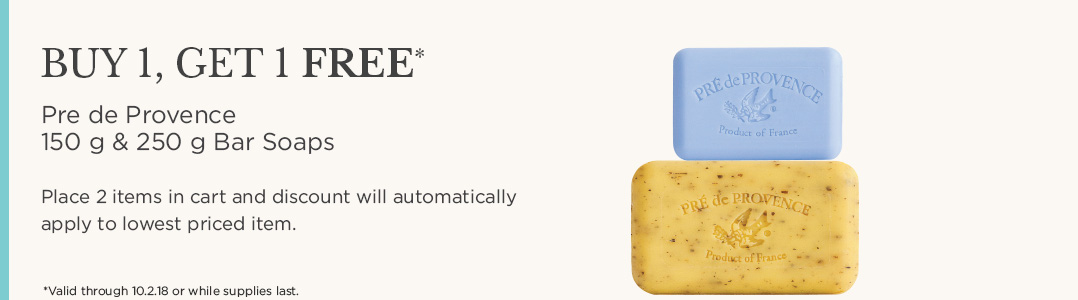 Buy one Pre de Provence 150 g or 250 g Bar Soaps and receive the second Free