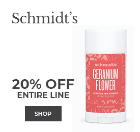 Shop Schmidt's Deodorants 20% off entire line, including Geranium Flower Sensitive Skin Formula