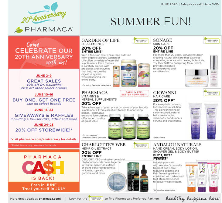 click to download 2020 June Pharmaca Store Flyer Page 1